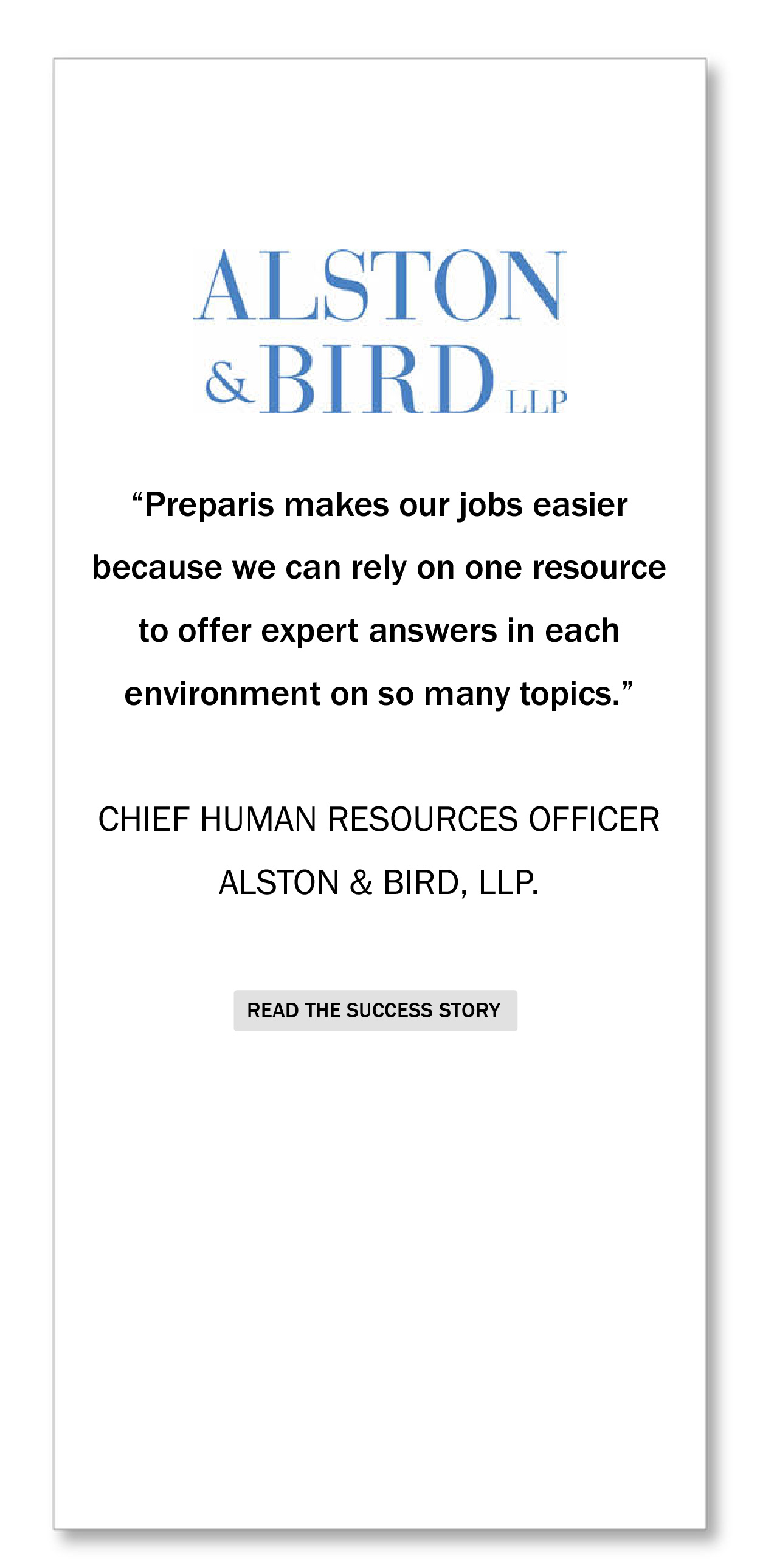 Alston And Bird Testimonial