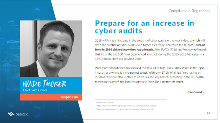 Preparis Featured in Bluelock's 2018 Legal Technology Predictions eBook